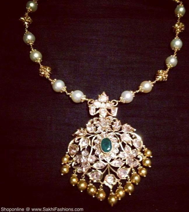 Pearls Choker with Pathakam Locket | Jewellery Designs