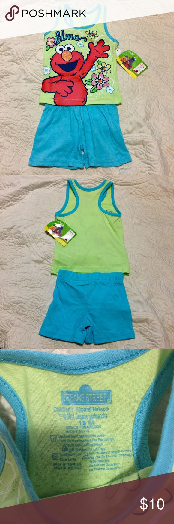 NWT Elmo Sesame Street Outfit SZ 18 MO This Elmo Sesame Street outfit includes the tank top and shorts and is brand new with tags attached. Size 18 months. Sesame Street Matching Sets