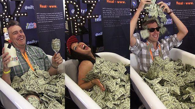 Bathtab with full of money