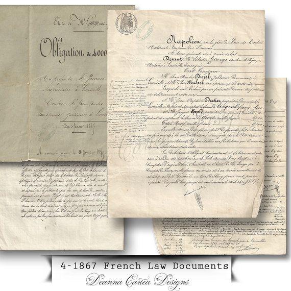1867 Antique French Law Document Ephemera instant by DeannaCartea