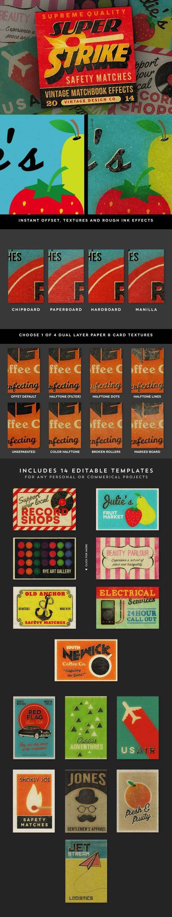 Super Strike - Matchbook Effects. Photoshop Layer Styles. $15.00