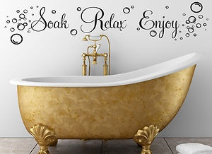 bubble wall art | SOAK RELAX ENJOY BUBBLES BATHROOM WALL ART STICKER QUOTE DECAL HOME ...