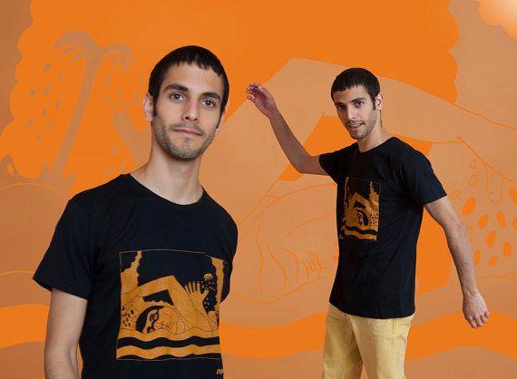 People in water Men's t-Shirt Orange on black by MoonTshirt