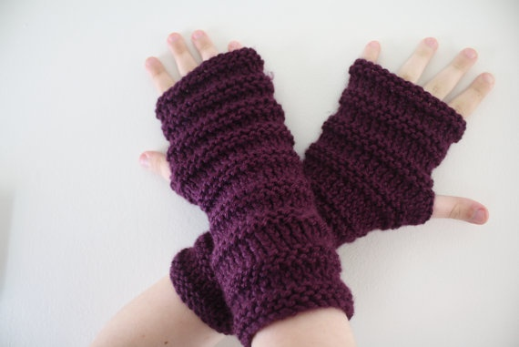 Plum Fingerless Gloves  SALE by knittylittlesecret on Etsy, $28.00