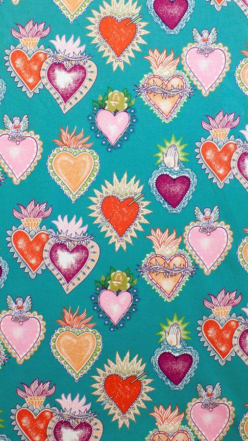 Corazón tela | Alexander Henry | Folklórico | México | Sagrado corazón | Corazones ardientes | Corazon | Azul | Rosa corazones | Impresión de gran corazón