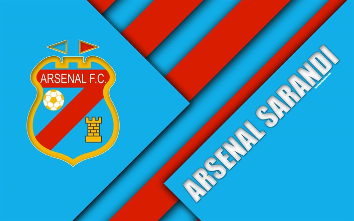 Download wallpapers Arsenal Sarandi, Argentinian football club, 4k, material design, blue red abstraction, Sarandi, Argentina, football, Argentine Superleague, First Division