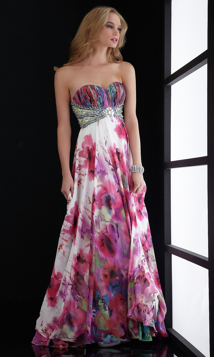 LOVE the watercolor floral detailm would need to add straps and not sure about beading. (Empire Waist Strapless Print Gown JZ-4518)