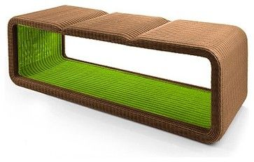 Modern Outdoor Wicker Bench $899.95Benches are such a practical outdoor seating solution. They can work at tables, at entryways or to divide spaces. This one has a classic wicker weave with durable materials and a splash of fun color.   Materials: 100% recyclable polyethylene fiber woven, aluminum frame  Dimensions: 53 L x 17.6 W x 17.6 H Product Specifications: Sold By:Home Infatuation |Visit Store» Category:Patio Furniture And Outdoor Furniture Style:Contemporary