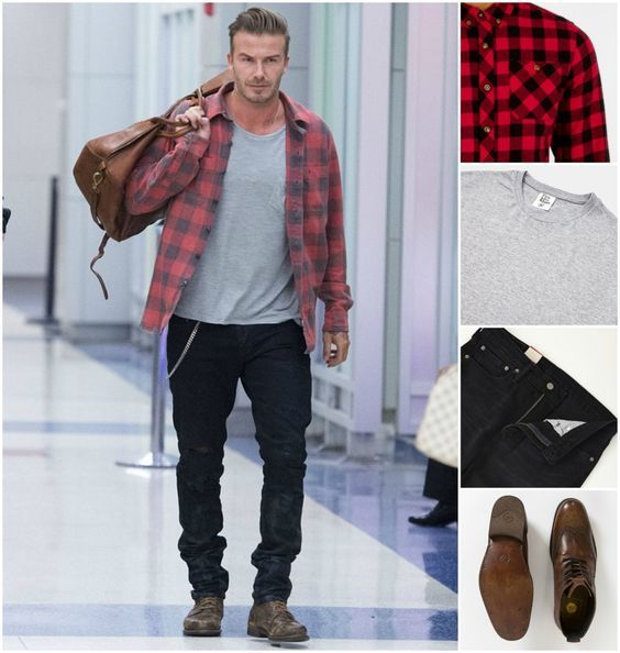 Particularly like the faded check shirt and boots: