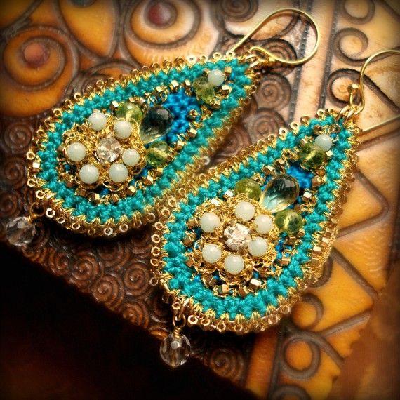 Beaded Earrings- Teal. Peridot. Handmade Gold Lace. Jeweled. Jewel Tones. Silk Teardrop. Peridot. Citrine. Vermeil