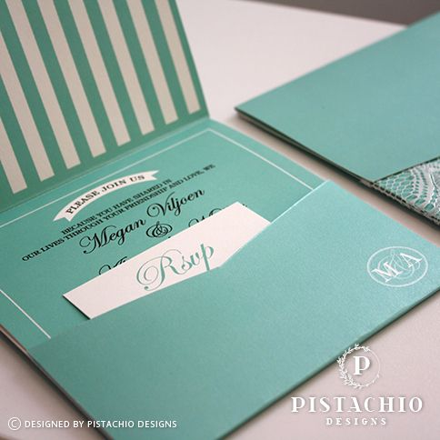Turquoise one fold square wedding invitation with pocket made by www.pistachiodesigns.co.za