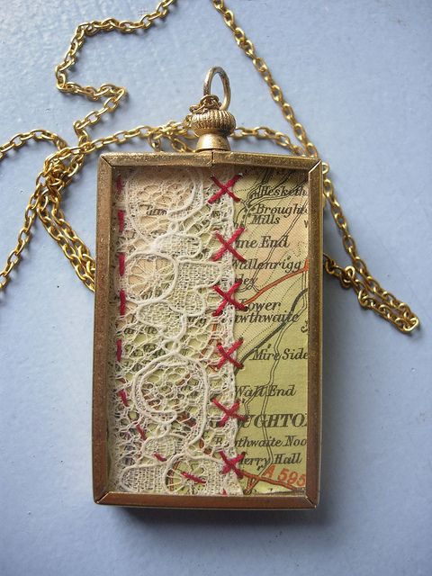 Mixed media vintage pendant