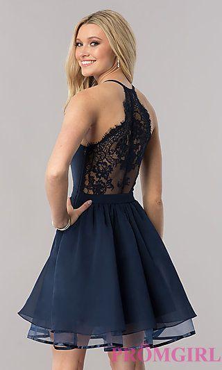 Short Chiffon Homecoming Dress with Lace Racerback