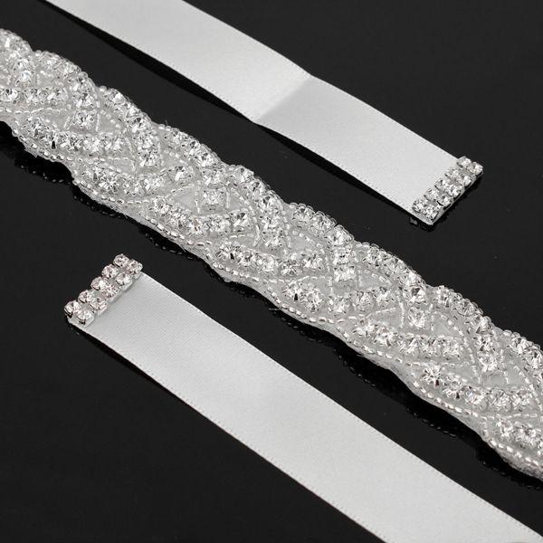 Bridal Luxury Beaded Rhinestone Belt Diamond Crystal Wedding Dress Girdle