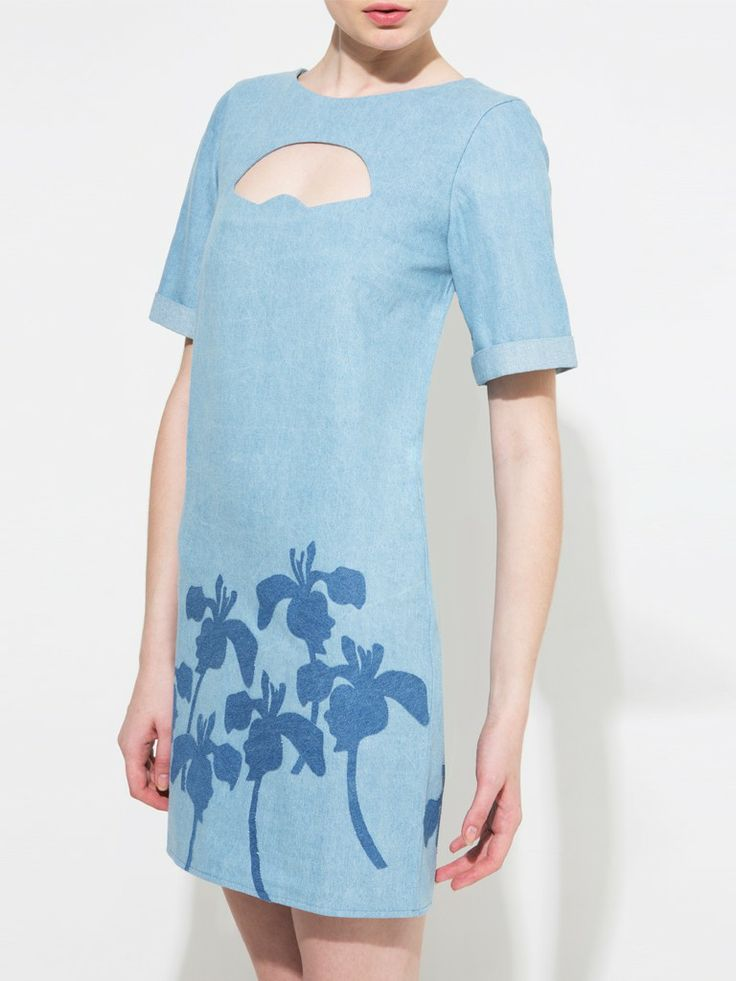 Fan cutout-flower denim applique denim dress