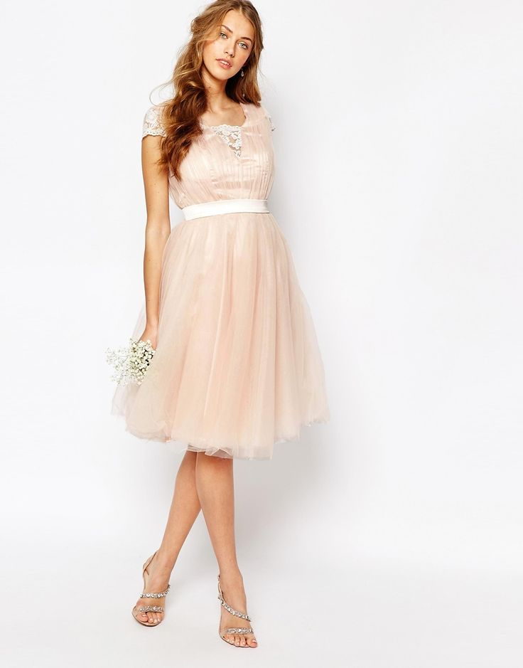 Image 4 ofChi Chi London Midi Dress with Tulle Skirt And Lace Back