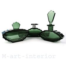 Art Déco Czech Glass Perfume Crystal Set Antique Powder Box Bohemia 1920s 1930s