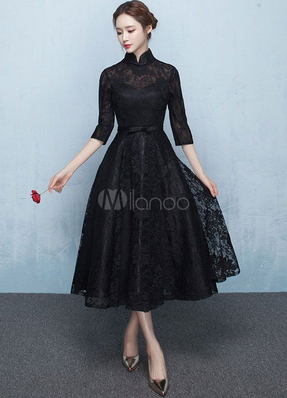 c7f893fa7 Black Mother's Dress Lace Prom Dress Mandarin Collar Half Sleeve Sash A  Line Tea Length Wedding Guest Dresses - Milanoo.com