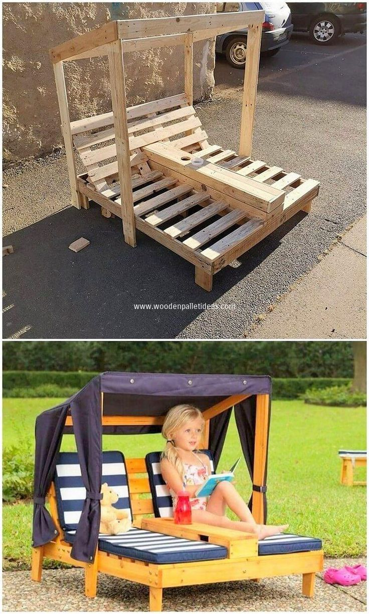 Having the placement of the garden sun lounger idea with the wood pallet effect … #WoodWorking