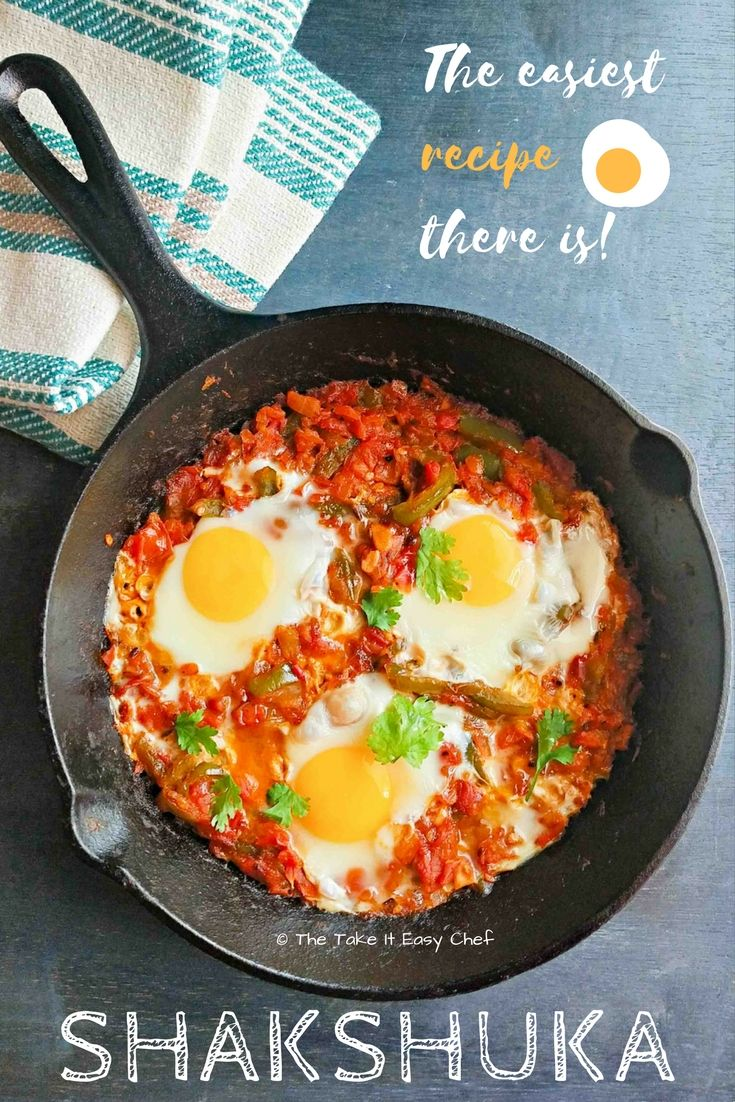 Shakshuka or shakshouka is a dish made by poaching eggs in a sauce made up of tomatoes, capsicum (bell peppers) and spices. Onions and garlic are also commonly used in the sauce base, while the most popular spice choices include cumin and paprika.