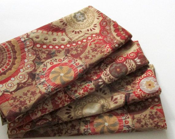 Large Cloth Napkins  Set of 4  Maroon Brown Beige by ClearSkyHome