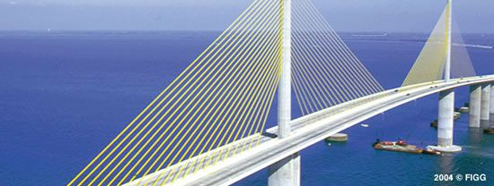 Cable-Stayed Bridge   New Sunshine Skyway Cable Stayed Bridge, Tampa Bay, Florida, USA ...