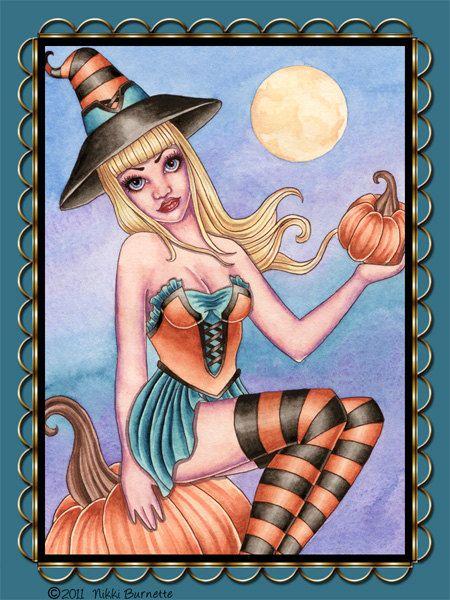 Halloween Witch Sticker - Fantasy Art - Pumpkin Moon Autumn Witch - Coraline - by Nikki Burnette