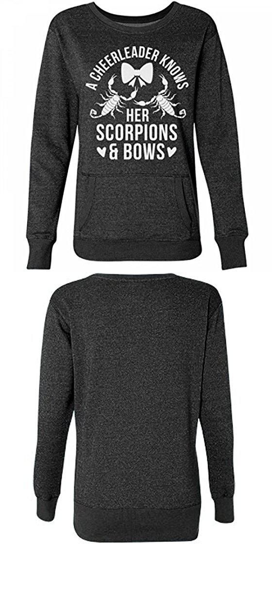 Glittery Cheer Scorpions And Bows:Misses Glitter Crewneck Sweatshirt. Custom made and printed on demand when ordered. 8.0 oz, 55/25/20 cotton/metallic/polyester blend. Glitter knit throughout fabric. Glitter will show lightly through design. Front pouch pocket #Apparel #SWEATER