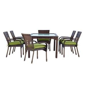 Martha Stewart Living Charlottetown Brown 7 Piece All Weather Wicker Patio  Dining Set With Green Bean Cushions