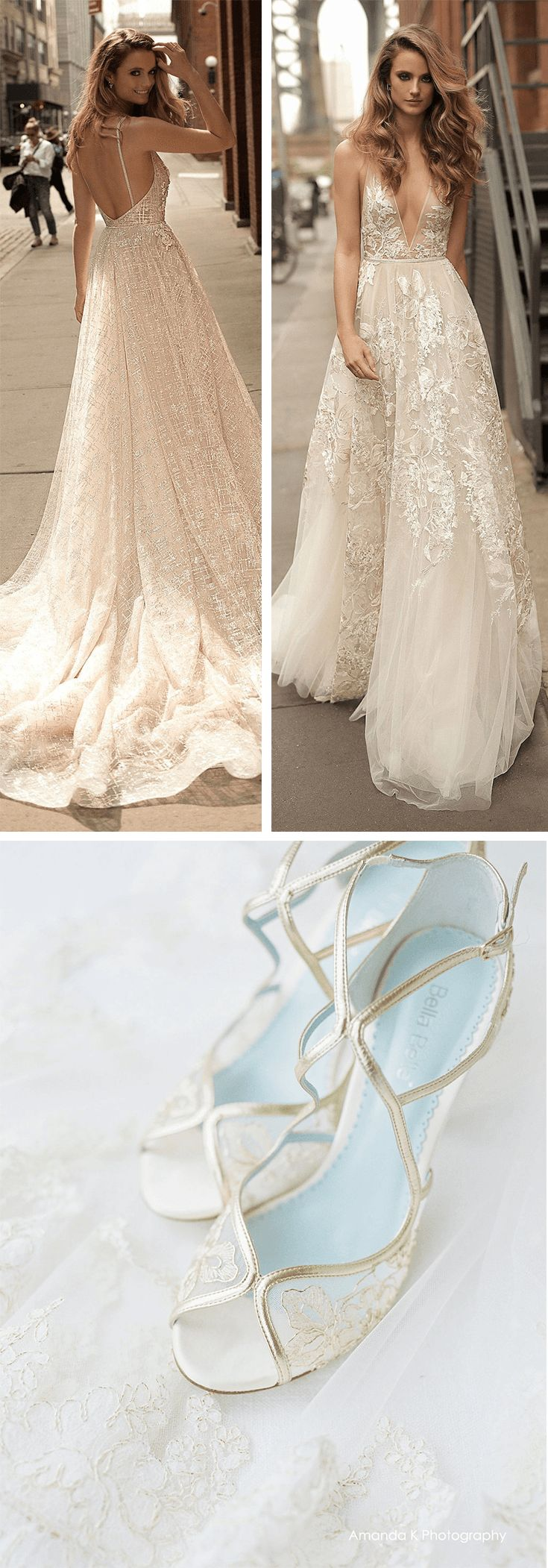 Berta Spring 2018 wedding dress and Bella Belle comfortable gold wedding shoe, Tess make the perfect glamorous wedding outfit fit for a destination wedding! The romantic, lace floral print, V neck, bare back and flowly tulle gown matches with the gold lace embroidery on the wedding heels. Comfortable with extra padding and a something blue sole, this wedding shoe is made for brides who are a dreamer. Photography by Amanda K #weddingshoes