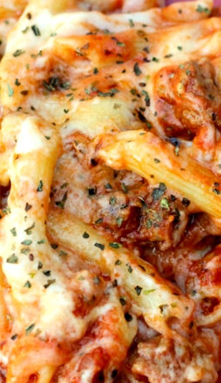 Mozzarella Penne Recipe ~ The sausage in this recipe is so delicious! If you don't like meat, just leave it out – easy peasy.