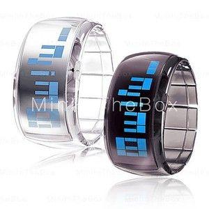 Promo Pair OF Futuristic Blue LED Wrist Watch Black White Unisex Couple Watches | eBay