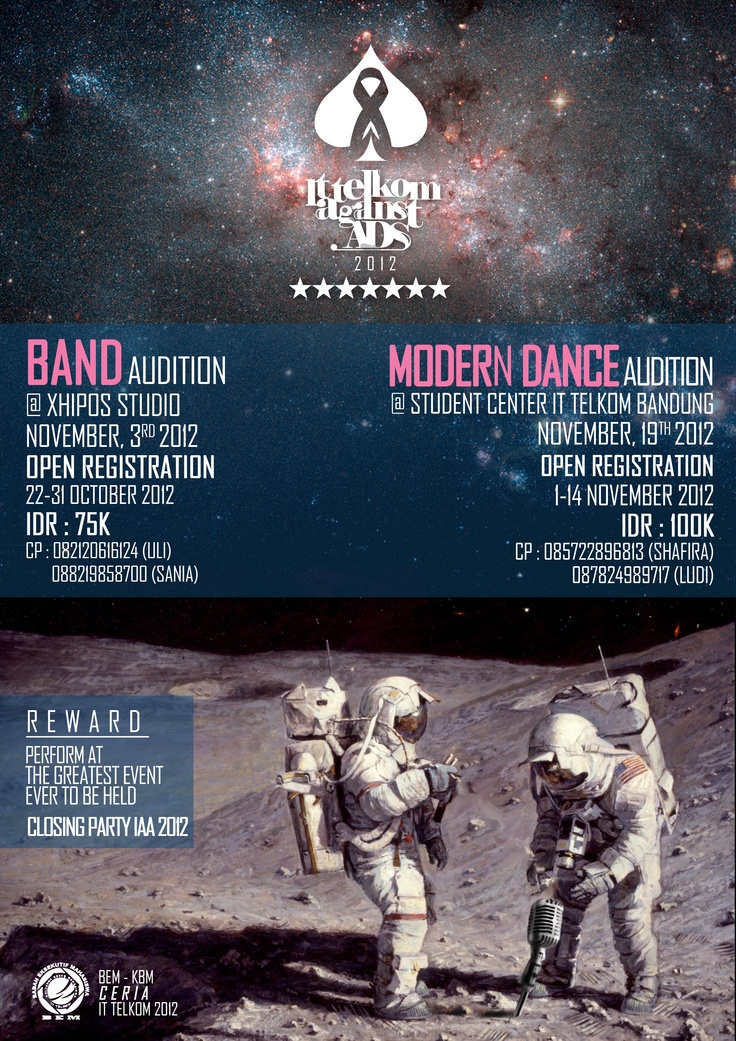 IT Telkom Against Aids Band Audition and Dance Competition Poster..