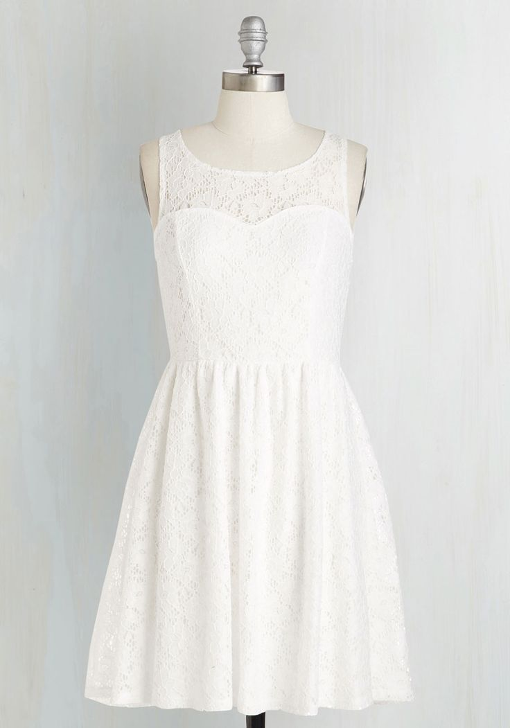 Jaunty Jive Dress in White. A sun-soaked day is a perfect excuse to bust a move in this elegant white frock! #white #modcloth