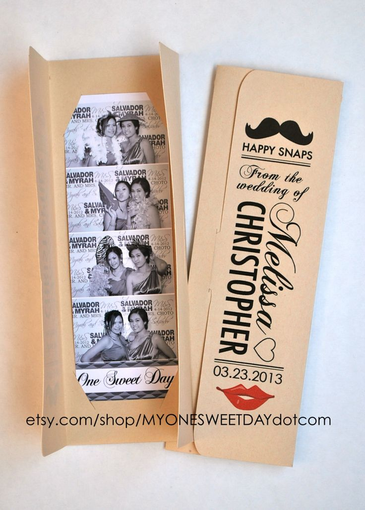Lips and Mustache Photo booth Photo-Strip Picture Holders- send them with your Thank You cards after the wedding. By Etsy seller MYONESWEETDAYdotcom