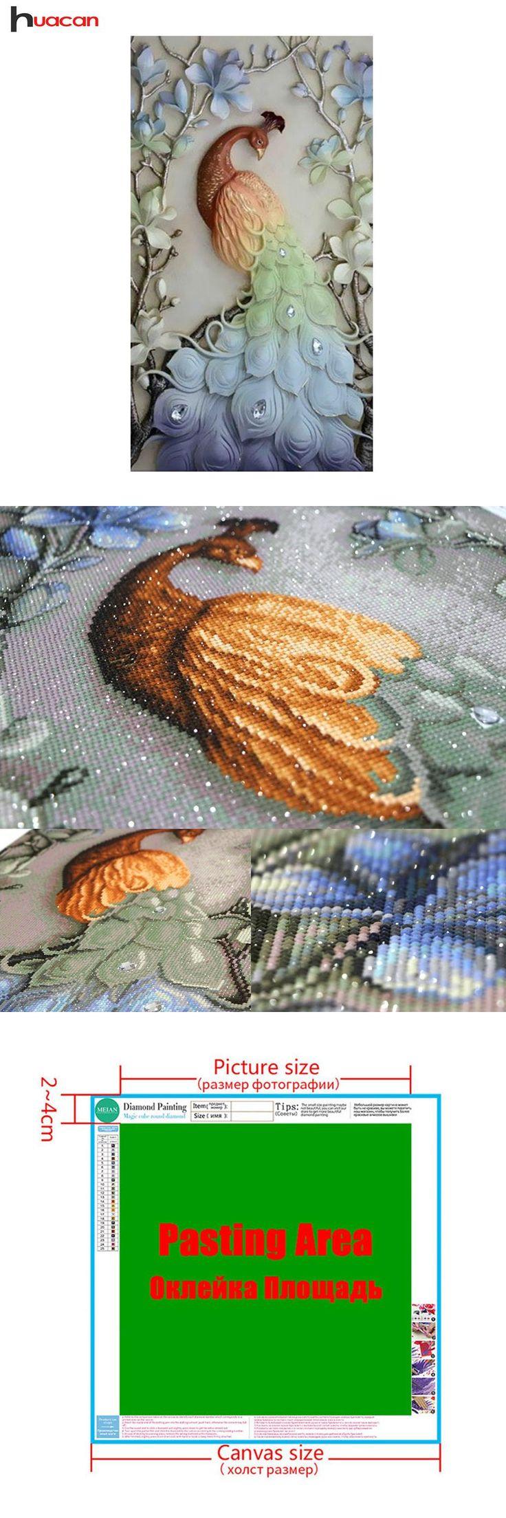 [Visit to Buy] DIY 5D Diamond Embroidery Mosaic Peacock Patterns Rhinestone Needlework Craft Gift Full Resin Rubik's Round Diamond Painting #Advertisement