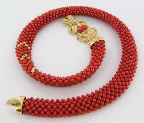 Vintage 18K Yellow Gold Red Coral Statement Necklace Fine Estate Jewelry Used | eBay