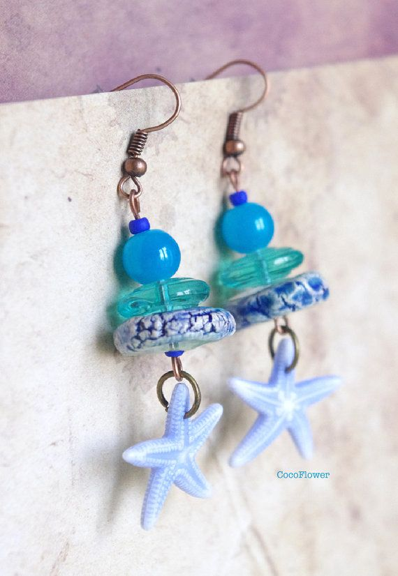 starfish aquamarine earrings water by