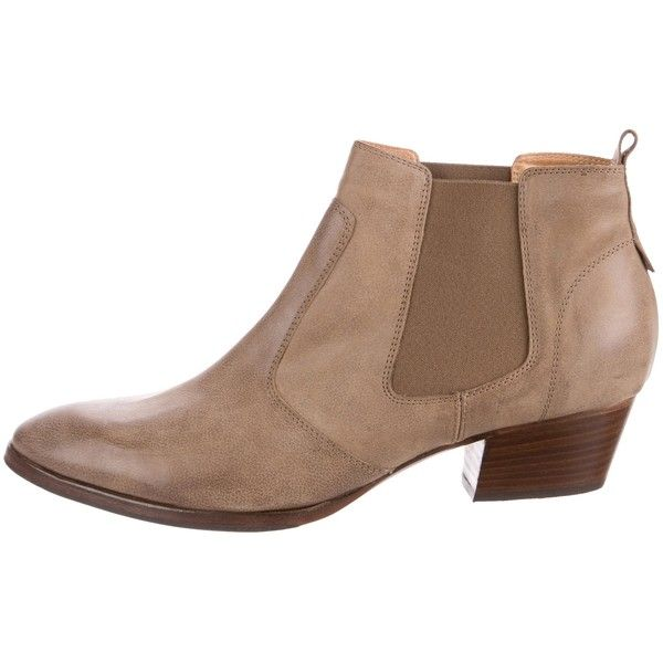 Pre-owned Aquatalia Leather Ankle Boots ($145) ❤ liked on Polyvore featuring shoes, boots, ankle booties, neutrals, brown booties, pointed toe bootie, brown leather ankle booties, ankle boots and leather bootie