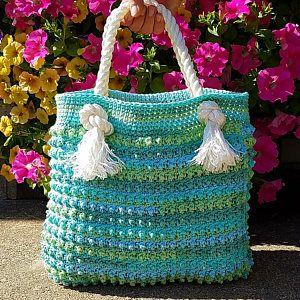 Crochet Blue Ocean Breeze Summer Beach Bag Pattern DIGITAL DOWNLOAD ONLY
