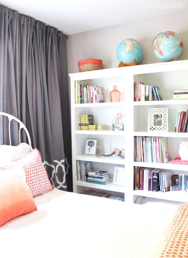 A bright and cheery guest room and home library!