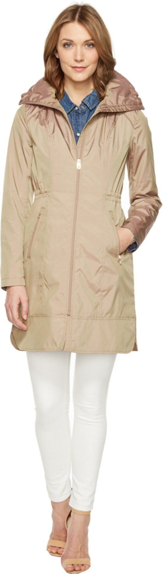 "Cole Haan Women's 36"" Single Breasted Rain Jacket with Packable Hood Champagne Outerwear"