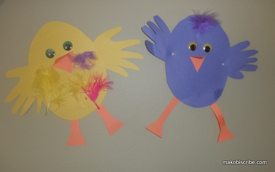 Cute easter chicks made with your babies hands