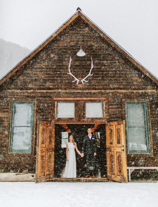 Bride + Groom in the snow!