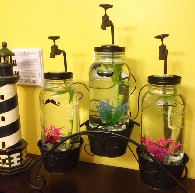 How To Decorate Fish Bowl: DIY Betta Fish Mason Jar Fish Tank Aquarium