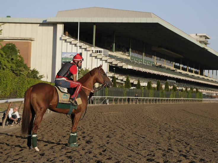 Kentucky Derby and Preakness winner California Chrome pauses as he enters the track with exercise rider Willie Delgado.