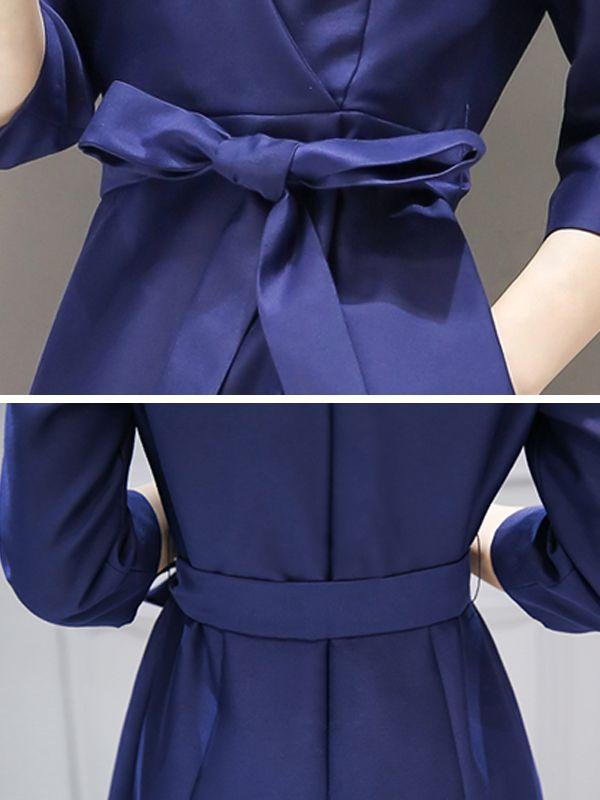 魅力的VネックAラインセレブ愛用七分袖OLワンピース - レディースファッション激安通販 20代·30代·40代ファッション