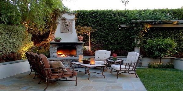 Awesome Contemporary Outdoor Stone Fireplace Design