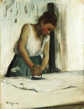 Degas, The Laundress, 1873, Oil on Canvas, 9 7/8 x 7 5/8 inches, Norton Simon Art Foundation