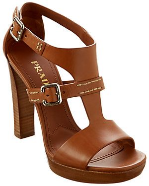 Prada Leather Stacked Heel Sandal/Dorothy Johnson